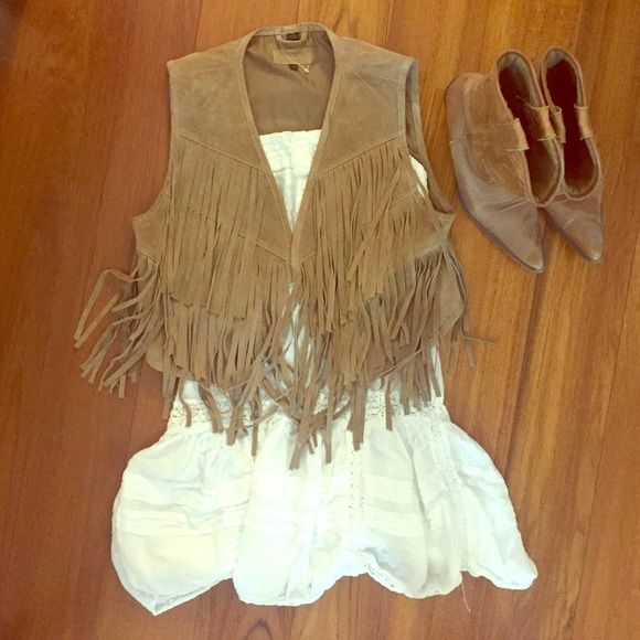 Festival chic tan suede fringed vest S Festival chic suede fringed vest. Slightly cropped. Size small. Worn once. 100% suede exterior with polyester lining. Dress and boots not included. ALDO Other
