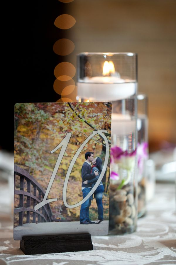 Photo Table Numbers: Made with an image of the couple / Washington DC Wedding Reception: Laura + Colin