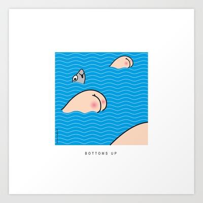 Bottoms up! Art Print by Serpentino - $13.00