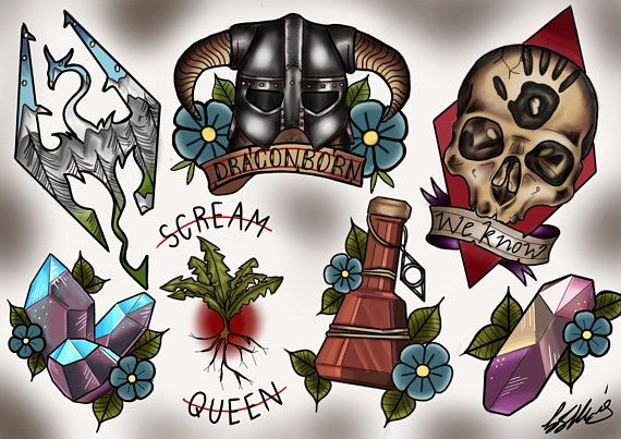 Skyrim Tattoo Stencil: Skyrim Tattoo Flash Sheet! Video Game Tattoo Design