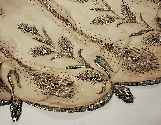 1805-10 Cotton Metallic thread Regency beading Dress, Evening    Wow, this dress is STUNNING.