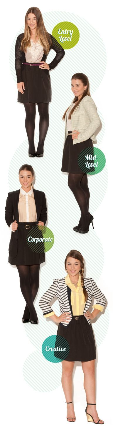 An interesting take on the different dress codes expected at different work levels. Just watch those skirt lengths!