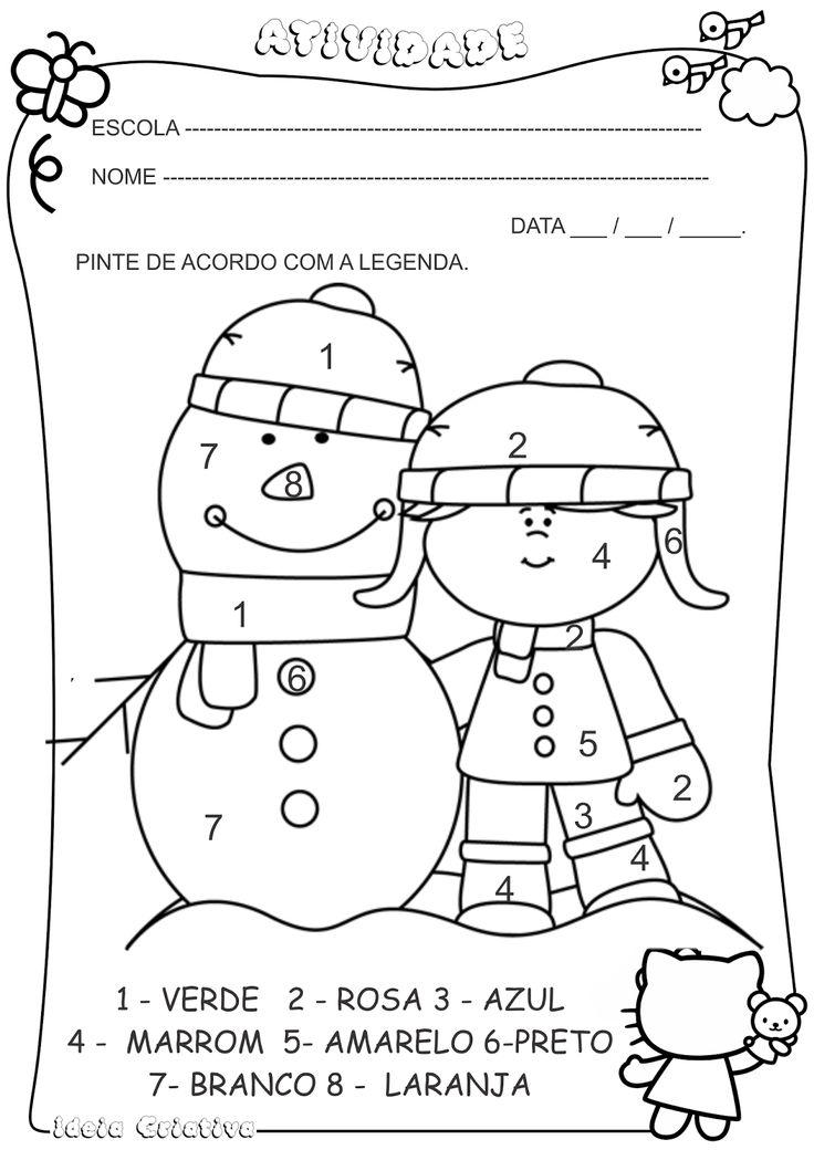 Atividade Pintura Legendada Inverno Menina  Boneco de Neve