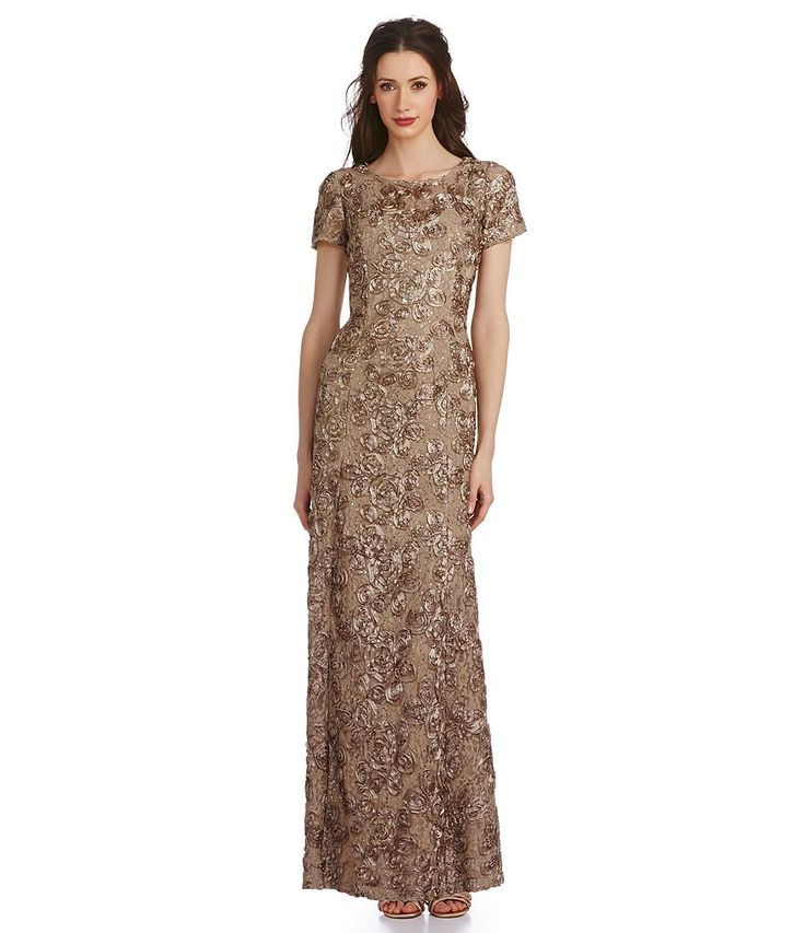 Champagne alex evenings petite sequined lace rosette rose for Dillards wedding dresses mother of the bride