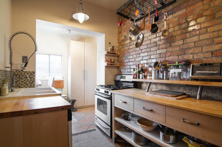 """eclectic kitchen by Lucy Call Small """"galley"""" kitchen's can be awesome!  (Island: Värde, Ikea)"""