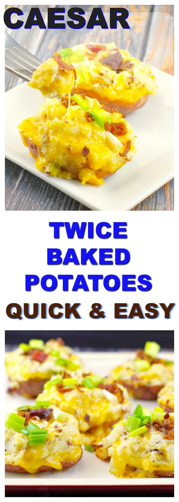Quick & Easy Caesar Twice Baked Potatoes   #potatorecipes #potato - Foodmeanderings.com These caesar twice baked potatoes (stuffed potatoes) are quick and easy, as well as a great way to use up leftover baked potatoes!