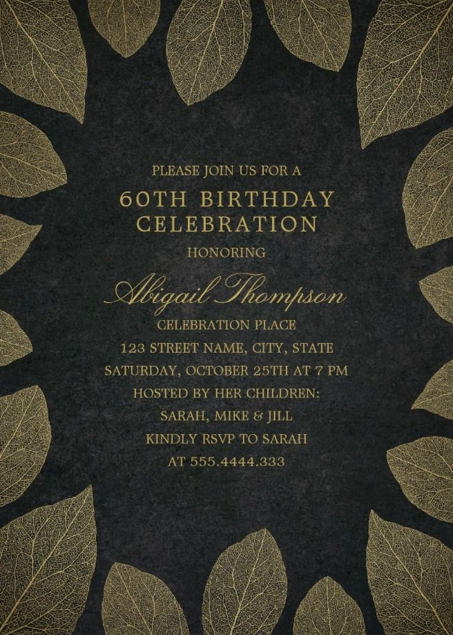 Gold Leaves 60th Birthday Invitations