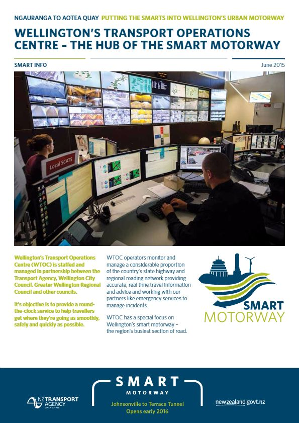 Smart Motorways project flyer about the work of Wellington's Transport Operations Centre, where operators monitor the motorway network.