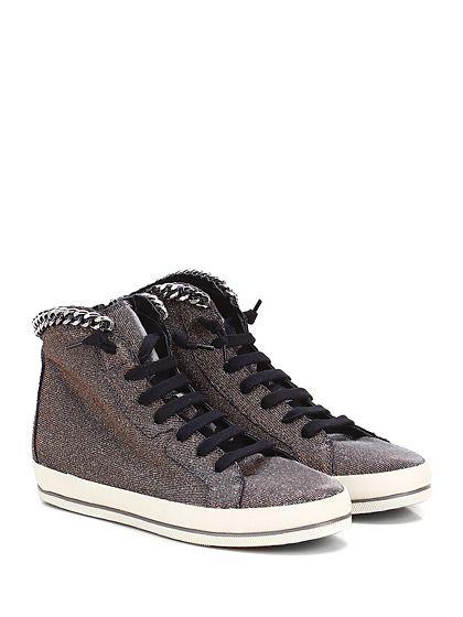 Donna Carolina - Sneakers - Donna - Sneaker in glitter con zip su lato interno e catena su profilo. Suola in gomma, tacco 25. - BRONZO\SILVER