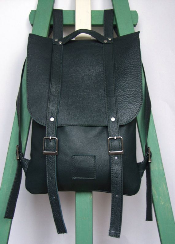 Black leather backpack rucksack / To order by kokosina on Etsy, $109.00