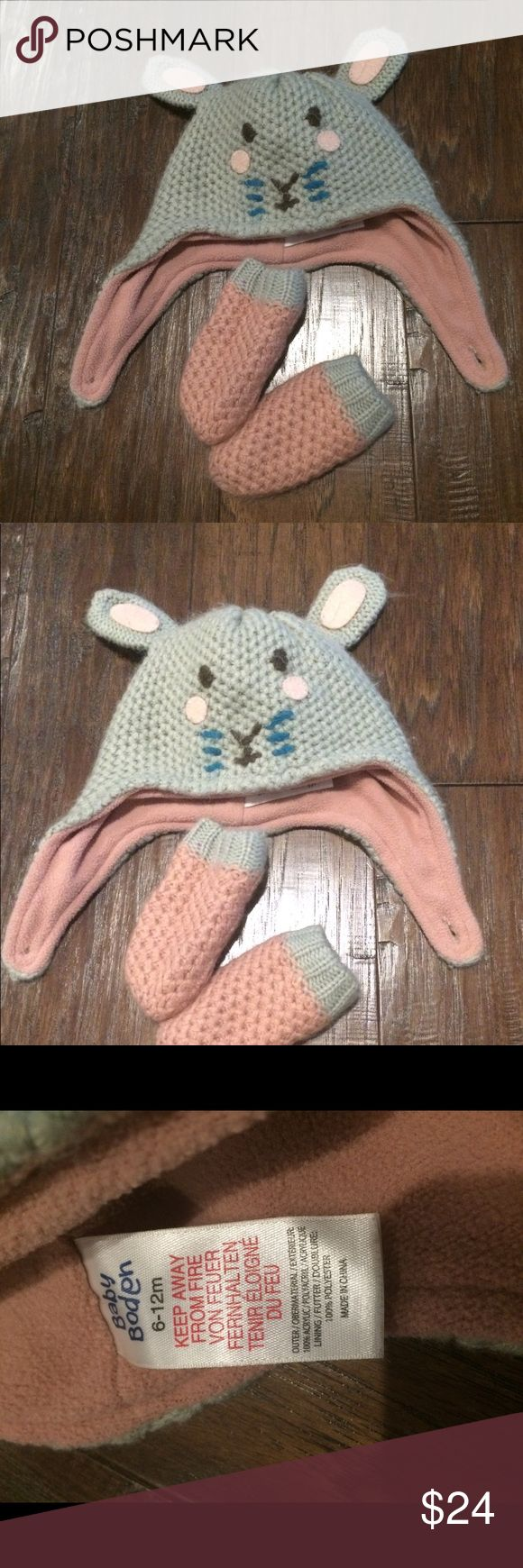 Mini Boden Novelty Hat and Mittens  Set Gently used, very good condition! Boden Accessories Hats