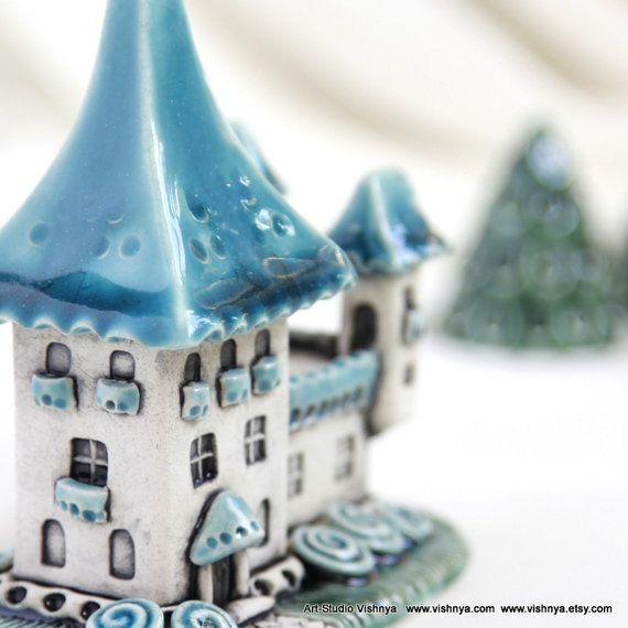 Spring Turquoise Sky House of tiny fairies  unique Hand by vishnya, $49.00