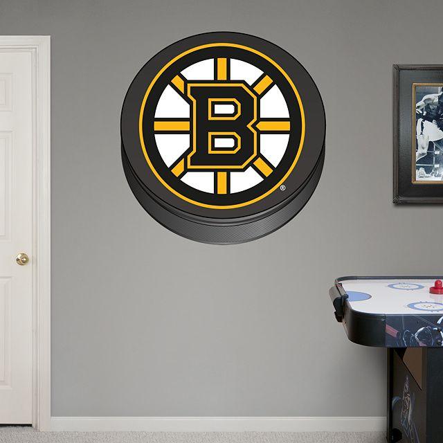 Boston Bruins Puck Logo Real Fathead Wall Graphic Decal