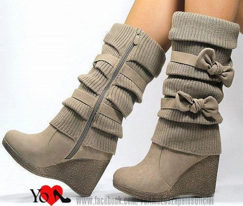 5746c53e4ae Shop Cute Nubuck Wedge Heel Double Bowtie Boots on sale at Tidestore with  trendy design and good price. Come and find more fashion Ankle Boots here.