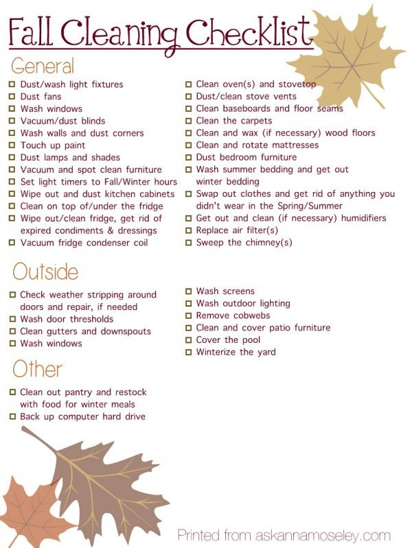 New Fall Into Winter Cleaning Checklist Free Printable
