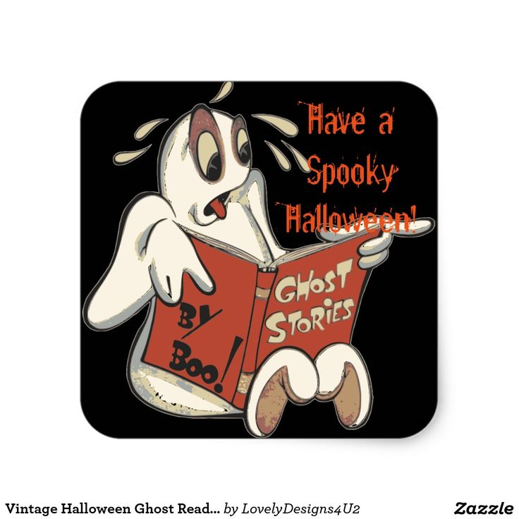 Vintage Halloween Ghost Reading Scary Book Square Sticker