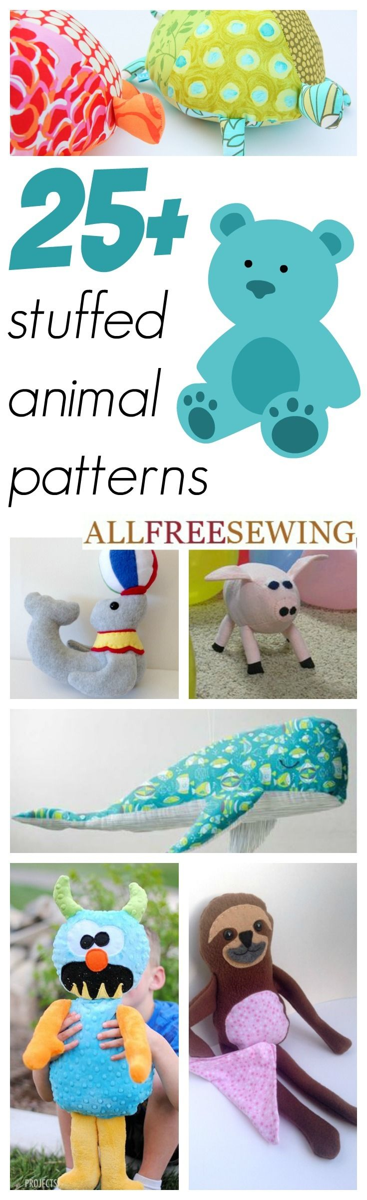 Mas de 25 patrones de animales de peluche - 25+ Easy Stuffed Animal Patterns