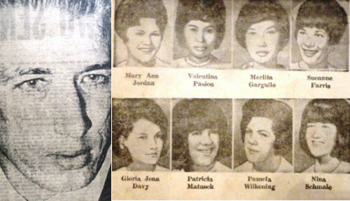 Richard Speck Massacre in Chicago: Although this bone-chilling crime was committed in Chicago, its far-reaching impact was felt most profoundly in the Philippines,  as the sole survivor—and witness of this killing spree—was a Filipina exchange student nurse, Corazon Amurao of Batangas. READ MORE: http://www.filipiknow.net/sensational-1960s-crimes-philippines/
