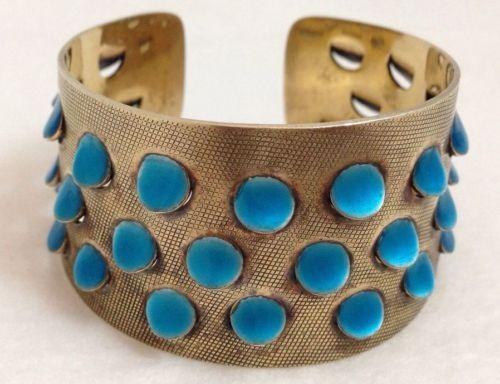 Grete Prytz Kittelsen for Jakob Tostrup Sterling Silver Striking Blue Enamel Cuff Bracelet