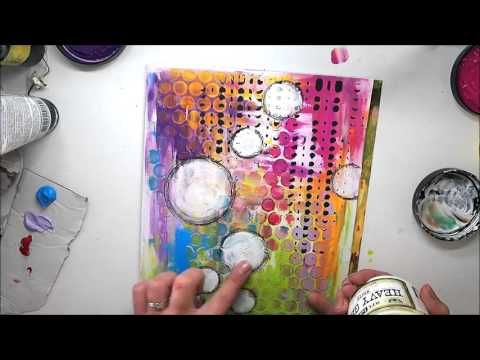 FAST & EASY colour JOURNAL #9 using Dylusions & Acrylic paints, Finnabair stencils 'Rise & Shine' – YouTube