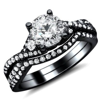 1.25ct Round Diamond Engagement Ring Wedding Set 18k Black Gold With A 0.50ct Center Diamond And 0.75ct of Surrounding Diamonds: Jewelry: Amazon.com