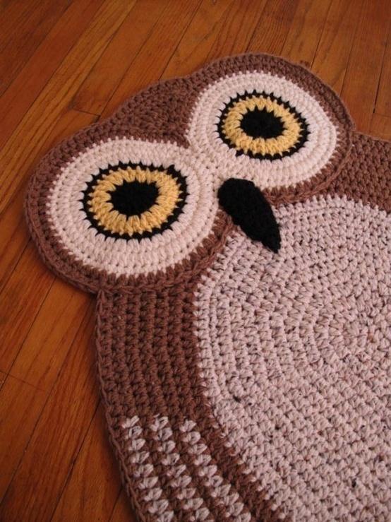 crocheted owl rug.
