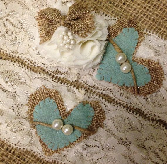 burlap Garter Set Wedding Garter  Tiffany blue by TheHeritageBride