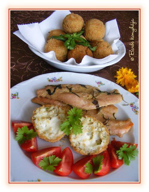 Barbi konyhája: Mustáros, mézes pulykamell, rántott sajtos rizsgolyókkal