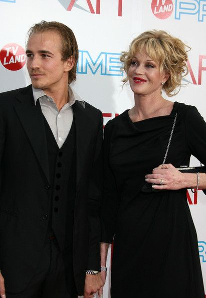 Jesse Johnson and his mother Melanie Griffith.