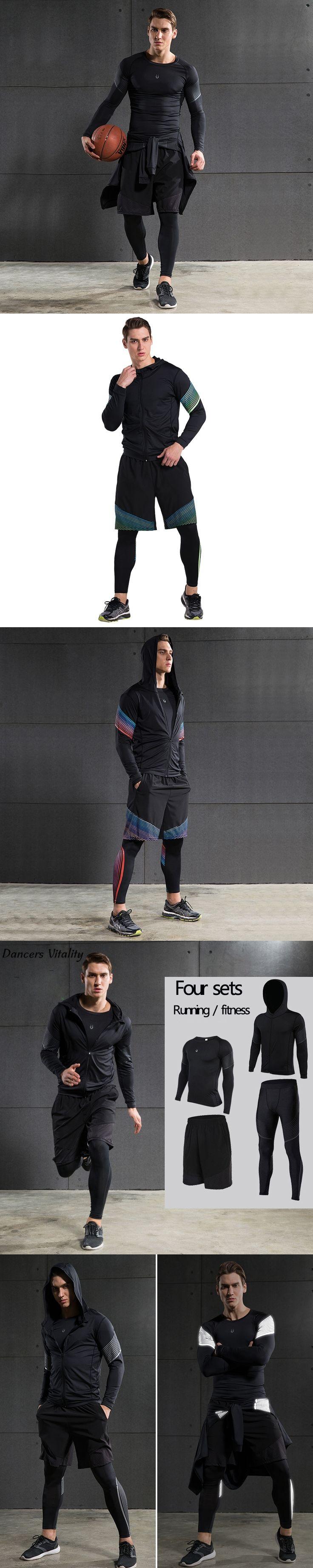 2017Men's Tights Three or four sets of gym Men's Jogging Running suit Training Long Sleeve Basketball Men's Sportswear Set
