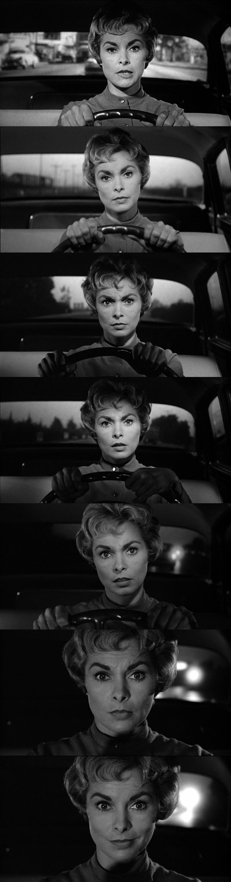 The different faces of Marion Crane by Janet Leigh. Psycho 1960