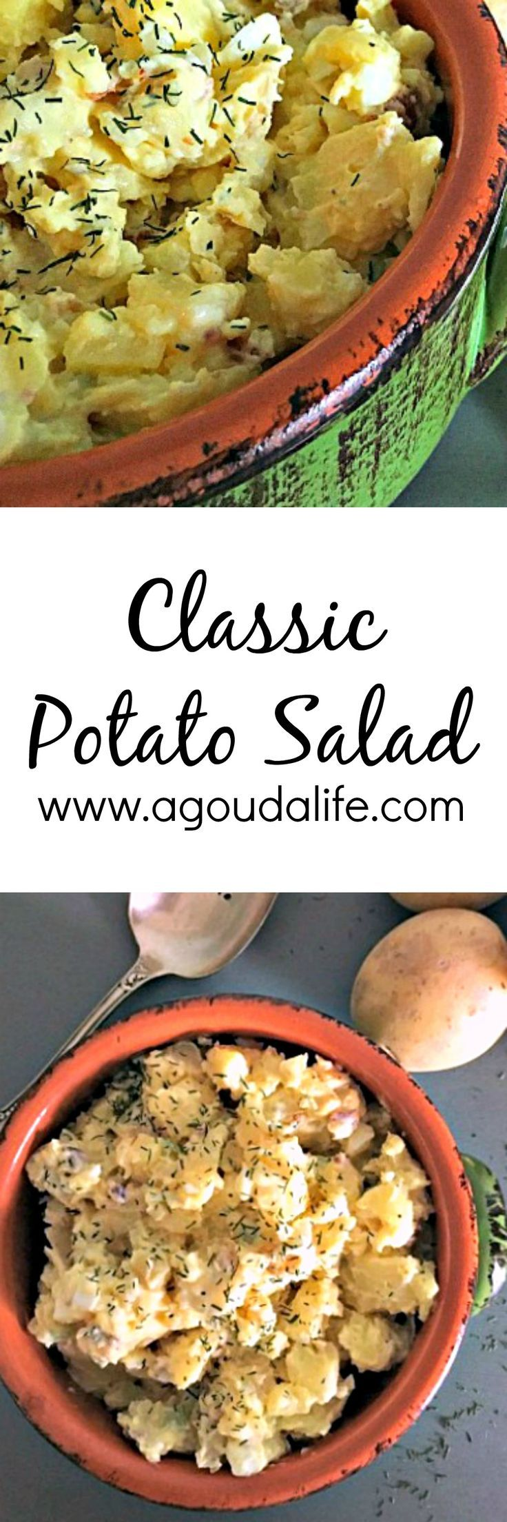 Classic Potato Salad ~ potatoes, hard boiled eggs, mayonnaise, fresh dill ~ just like mom or grandma used to make!