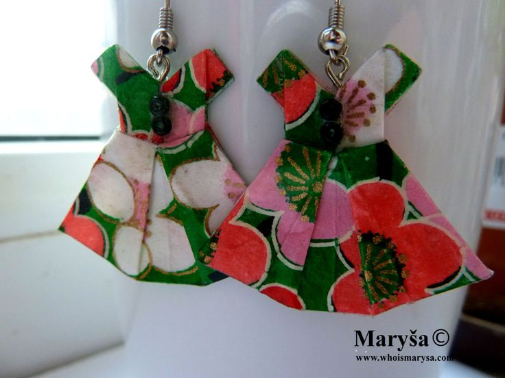 Small Origami Dress earrings  Green Dress dangle earrings Washi earrings Green Japanese Dress with flowers Gift for her Romantic Gift Idea by MarysaArt on Etsy