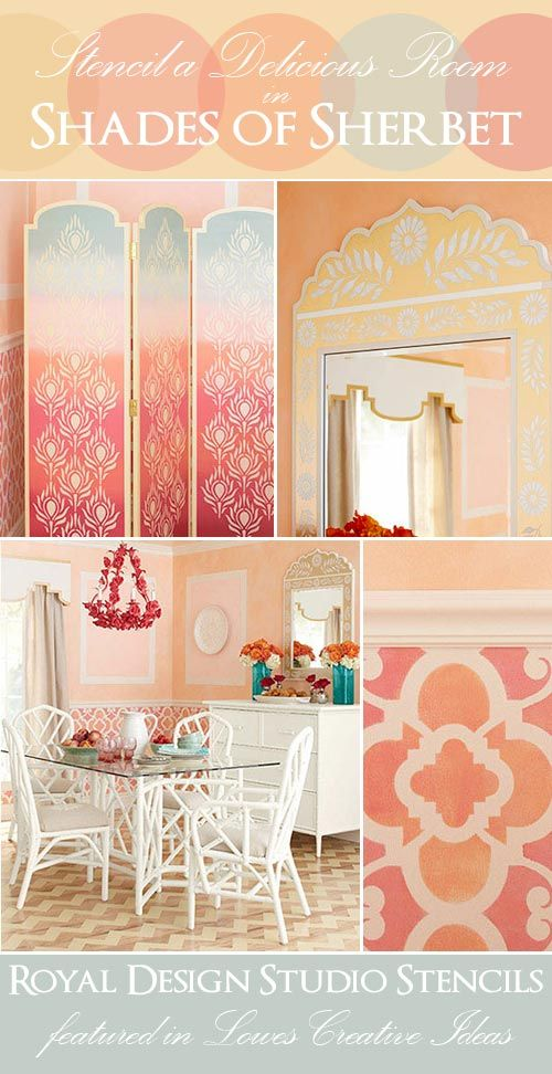 Stencils from Moroccan Stencil Collection by Royal Design Studio featured in DIY stencil project in Lowe's Creative Ideas.