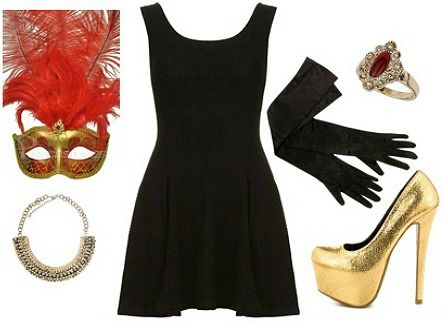 Masquerade costume-Start with a little black dress and viola! LOVE this!