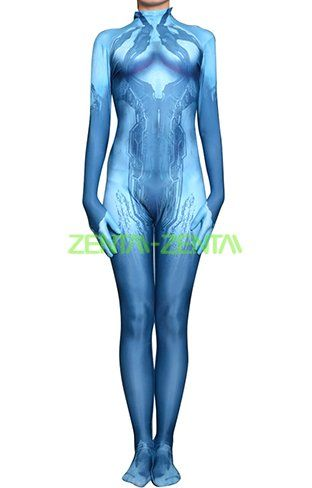 Cortana Halo 4 Printed Spandex Lycra Costume With 3D Muscle Shades
