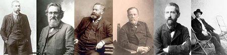 De gauche à droite : E.Roux,E.Metchnikoff, C.Chamberland, L.Pasteur et E.Duclaux ©Institut Pasteur