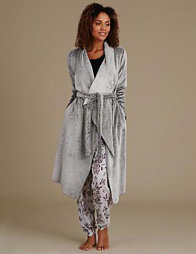 Waterfall Marl Long Sleeve Dressing Gown