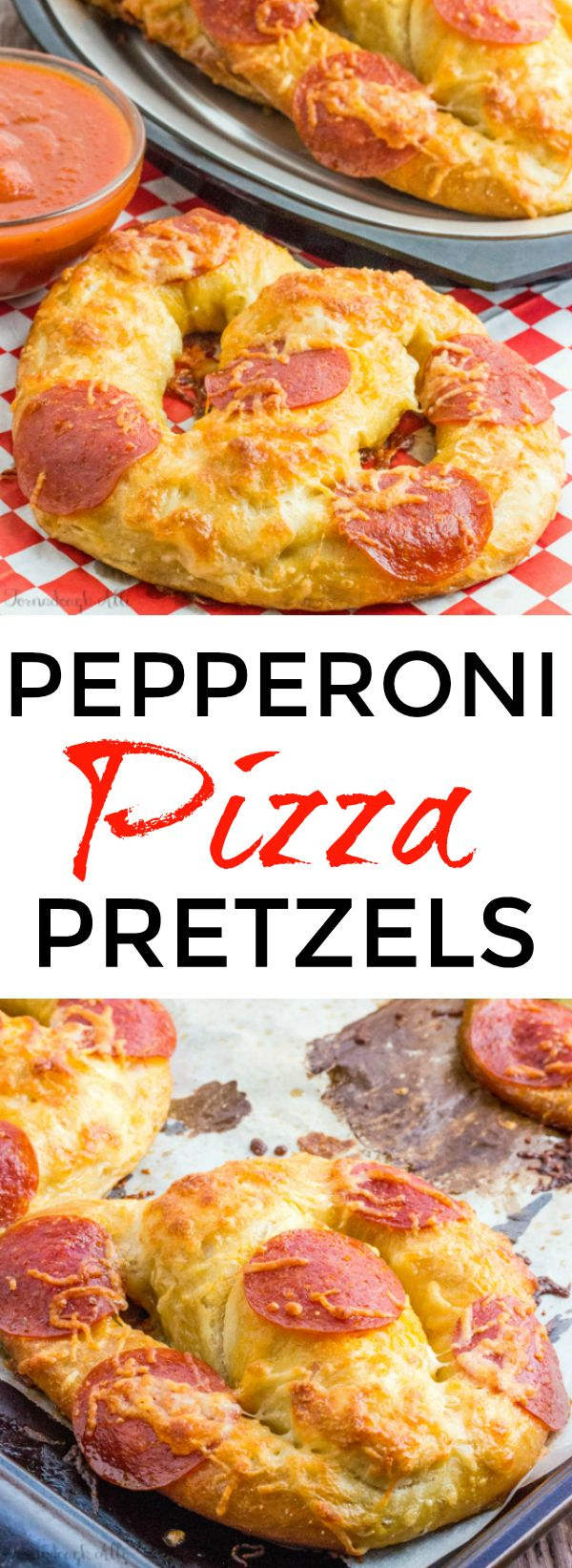 These Pepperoni Pizza Pretzels are soft and gooey and loaded with cheesy goodness making them a delicious snack for everyone to enjoy!