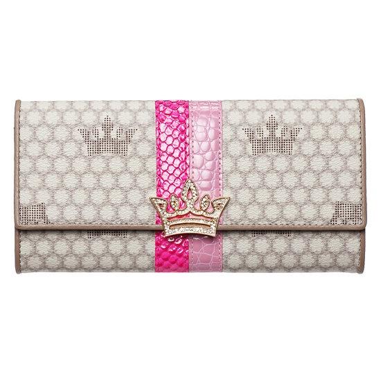 Jestina* FLORA GLORY GRAY Pink Leather Trim Long Folding Wallet <3
