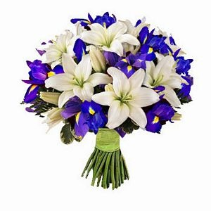 Combination of white lilies and blue irises resulting in SIMPLY BEAUTIFUL floral arrangement. Send it now for only $56. For more please visit http://www.flowersnext.com/florist/category/sympathy.asp