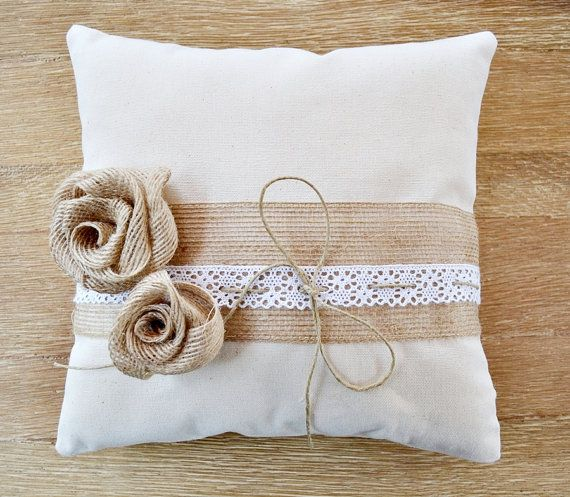Wedding Ring Pillow Burlap Flowers White Lace. by handANAhada