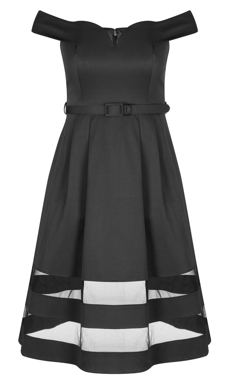 Have an air of mystique about you in this chic and sophisticated style.    Key Features Include:    - Sweetheart neckline  - Off-the-shoulder sleeves  - Removable matching fabric belt  - Fitted waist  - Mesh insert panels  - Tulle skirt underlay  - Invisible back zip closure  - Fully lined