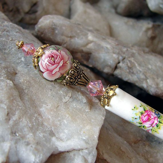 Pink Floral Tensha Hair Stick with Swarovski Crystals and Gold Plate accents - Genevieve
