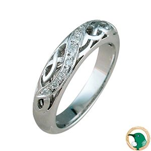 Enlightened Celtic Diamond ring.  Style pictured 18ct white gold with 11 diamonds (TDW .12ct). 4.8mm width.