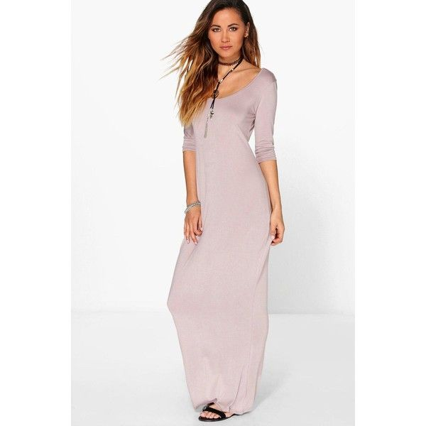 Boohoo Shelly 3/4 Sleeve Scoop Neck Maxi Dress ($16) ❤ liked on Polyvore featuring dresses, grey, going out dresses, scoop neck maxi dress, grey maxi dress, party dresses and maxi party dresses