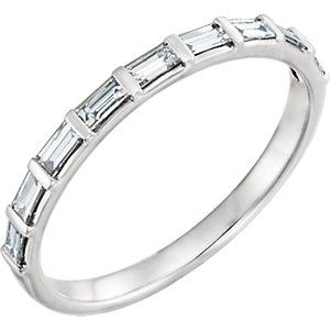 14kt white gold straight baguette diamond anniversary band. 1/4cttw. Find it at a jeweler near you: www.stuller.com/locateajeweler #diamond #baguette #anniversary