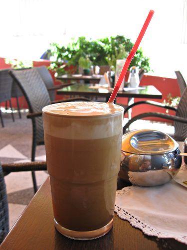 Frappé at a cafe, Greece