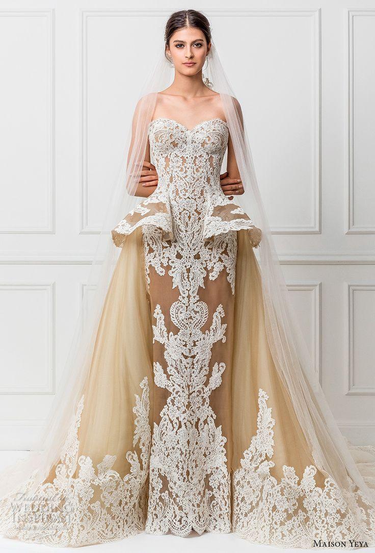maison yeya 2017 bridal strapless sweetheart neckline full embellishment ivory color peplum glamorous sheath wedding dress a line overskirt royal train (12) mv