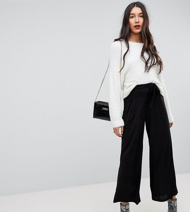 ASOS TALL Culotte Pants With Tie - Black